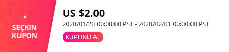aliexpress 2$ kupon kullanma