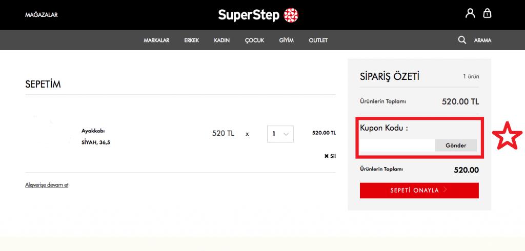 SuperStep indirim kodu kullanma